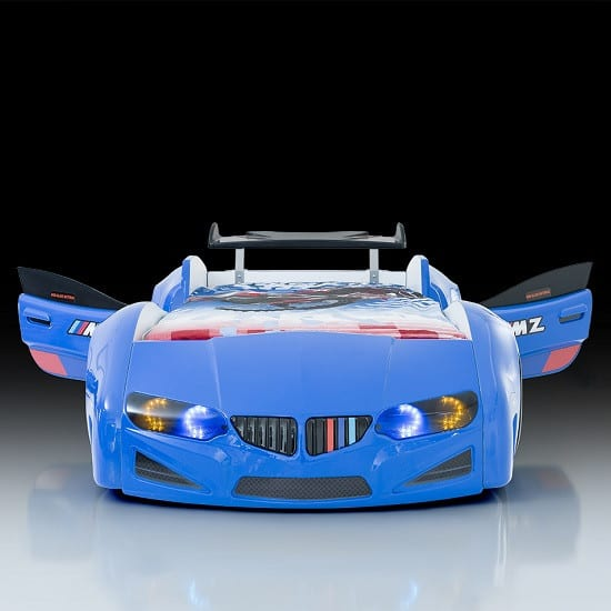 blue car bed New BMW Childrens Car Bed In Blue With LED Lighting And Spoiler